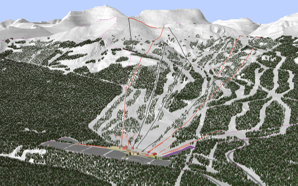 Forested 3D Model of Lake Louise Ski Area proposed planning, Lake Louise Alberta, Canada - BHA Mountain Planning Analysis and Design, 3D Modeling, Terrain Modeling, GIS Analysis