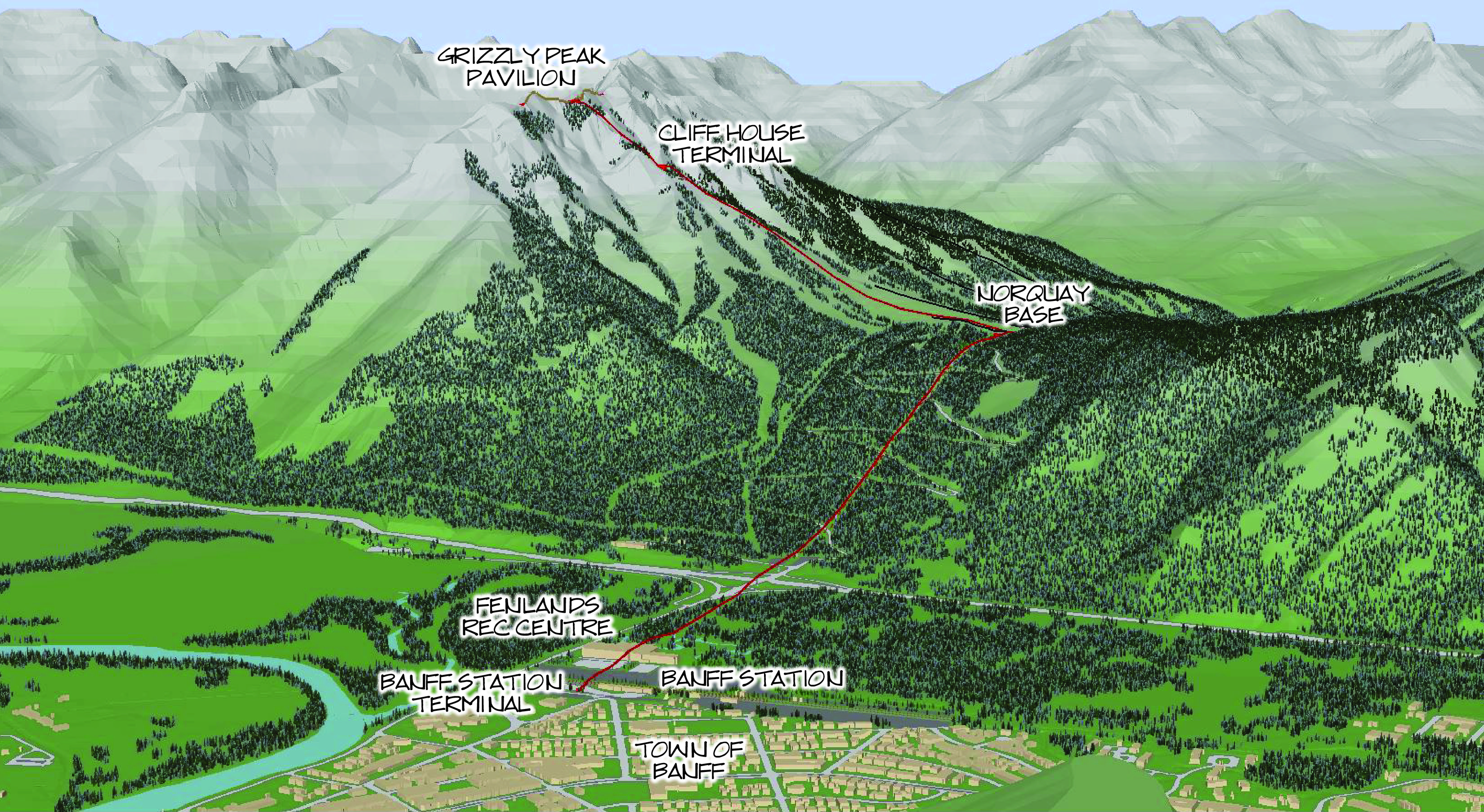 Town of Banff 3D Model, Mount Norquay, Banff Canada - BHA Ski Area and Gondola Planning and Design