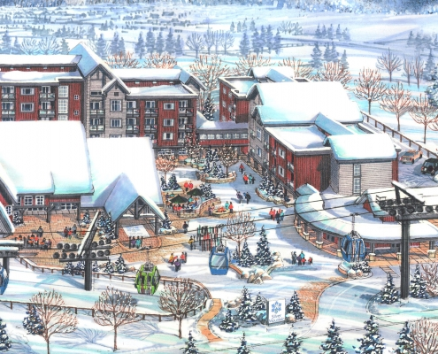 Silver Mountain Resort Architectural Illustration of Proposed Village Core, Idaho, United States - BHA Ski Resort and Village Master Planning